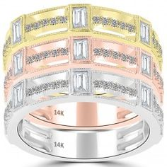 2.85 Ct. Tri Color Stackable Ring Set Micro Pave Wedding Band 14k Gold - SRS-002