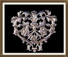 Beautiful Large Art Nouveau Solid Silver Heart Brooch  £200