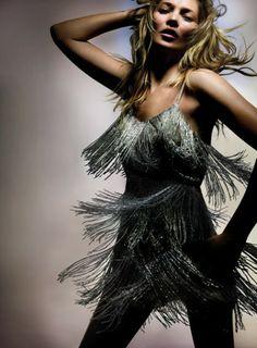 Kate Moss, na campanha de sua coleção para a Topshop