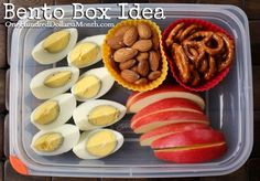 This protein packed bento box satisfies sweet and salty taste buds, all while keeping bellies full for hours. Ingredients 2 Eggs Apple Slices Pretzels Almonds Directions Hard boil the eggs.  Place them in the fridge to cool a bit.  Peel and slice the...