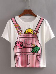 Camiseta estampada de pantalón de rayas -blanco