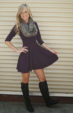 Purple dress, black boots with hunting socks underneath, leopard print scarf, and a cardi.