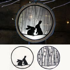 Winter Woodland Bunnies Shadowbox (Organza) | Urban Threads: Unique and Awesome Embroidery Designs