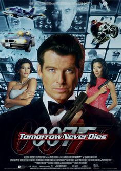 Tomorrow Never Dies - directed by Roger Spottiswoode and stars Pierce Brosnan as James Bond, with Teri Hatcher, Jonathan Pryce, Michelle Yeoh and Judi Dench. Michelle Yeoh, Pierce Brosnan, Thème James Bond, James Bond Theme, James Bond Movie Posters, James Bond Movies, Sean Connery, Peliculas Audio Latino Online, Jonathan Pryce