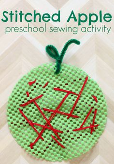 Teach your child to sew with this preschool sewing activity.