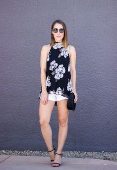 Black floral halter tank+white shorts+black ankle strap heeled sandals+black shoulder bag. | Clothes & Quotes. Summer outfit 2016