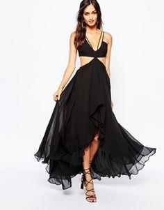 The Jetset Diaries Sandstorm Cutaway Maxi Dress in Black