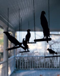 """DIY:  Ravens in Waiting. Sharp-taloned ravens and crows are an ominous sign. Halloween """"Beware the Birds!"""" Edgar Allan Poe & Alfred Hitchcock Black & White Party"""