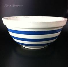 Vintage Chef Ware Blue White Stripe Mixing Bowl Staffordshire Potteries | eBay