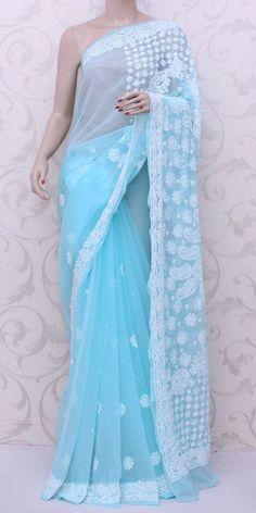 Lucknowi Chikan Saree (W/B-Georgette) 12846