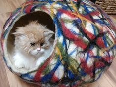 What could be better for your pet than a cat cave made of natural wool!  You love your pet! So take a gift for him! He will love to hide in it. Your cat