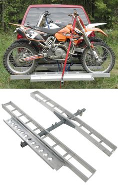 Easily transport 2 dirt bikes with this study, easy-to-use double dirt bike carrier. Steel shank provides extra support for the increased load. Make sure you get to dirt biking with ease. Truck Hitch, Bike Hitch, Atv Implements, Motorcycle Carrier, Extreme 4x4, Adventure Trailers, Motorcycle Trailer, Dirt Biking, Honda Pilot