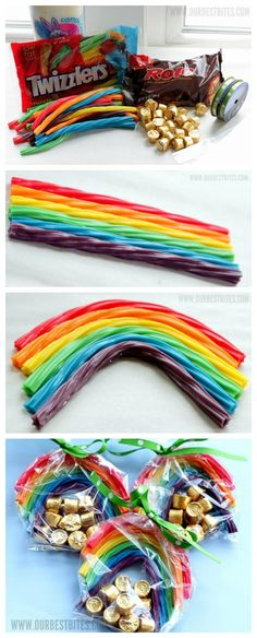 Cute Idea to mail :) Pot of gold ~ rainbow party favors! So Cute, Love this Idea St Patty's Day :)) Rainbow Loom Party, Rainbow Party Favors, Rainbow Birthday Party, Rainbow Treats, Rainbow Food, Rainbow Parties, Rainbow Candy, Party Favours, School Birthday