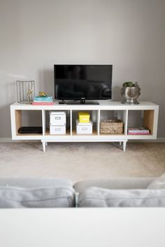 IKEA HACK: Kallax Shelving Unit to TV Stand or a Mid century Sideboard.