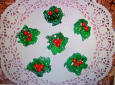 Christmas HOLLY Cookies   NO BAKE by Freda #recipe #justapinch #christmas #cookies