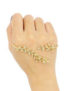 Golden Rhinestone Detail Leaf Shape Hand Ring