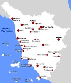 interactive map - highlights regions in tuscany where certain wines are grown...