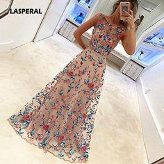 Lasperal 2017 цветочный Вышивка длинное праздничное платье невесты банкет Элегантный длиной до пола Выходные туфли на выпускной бал Vestidos торжественное платье