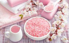 Pink Sea Salt Spa Decor Wallpaper