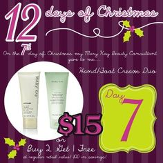 On The 7th Day of Christmas My Mary Kay Consultant gave to me......Hand & Foot Cream to keep them soft all winter long! To order colors or any other Mary Kay products or to have a complementary makeover-try-before you buy, contact me by calling, messaging me, or email me at tinakrosse@marykay.com Gift giving....I can wrap, deliver, or mail items too!