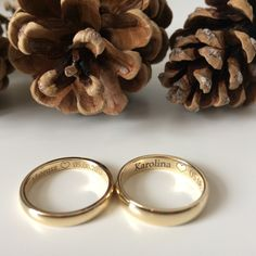 Klasyczne złote obrączki soczewkowe 3 mm i 4 mm. Grawer wewnętrzny Karolina ❤ Mateusz.  wedding rings, engraver, rustic weeding, cone, classic gold rings