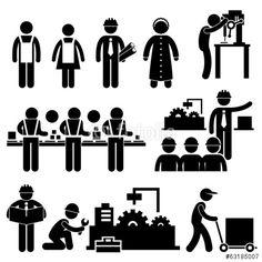 Vektor: Factory Worker Engineer Manager Supervisor Working