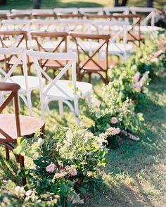 A Romantic, Flower-Filled Wedding in Oklahoma | Martha Stewart Weddings - White and wood cross-back chairs alternated at the ceremony and the aisle was bordered with floral arrangements to give the feeling of walking through a garden.
