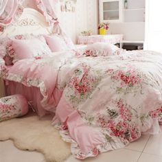 FADFAY Home Textile Pink Rose Floral Print Duvet Cover Bedding Set For Girls 4 Pieces Queen Size
