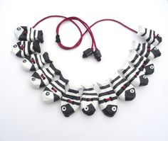 Ecofriendly jewelry,fun sea paper mache necklace with black and white…