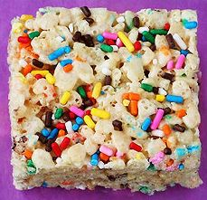 Cake batter Rice Krispie treats. Fun and so easy to make.