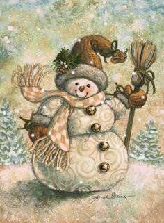 Happy Snowflakes! by Janet Stever ~ Christmas ~ winter ~ snowlady ~ broom