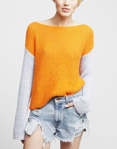 two tone - body seed stitch and sleeves stockinette