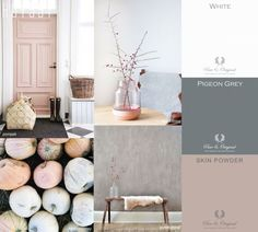 Yellow Baby Room: Awesome Models and Tips! - Home Fashion Trend Mood Board Interior, Gray Interior, Interior Design Living Room, Blush Living Room, Living Room Decor, Blue Gray Bedroom, Pink Pumpkins, Pink Walls, House Colors