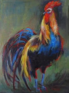 Rooster, Rooster Painting, Original Painting, Chicken Painting, Large ...