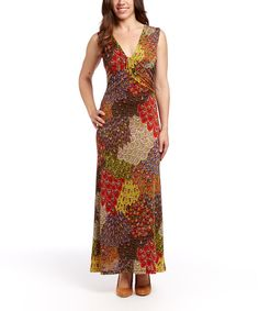 Look at this Modern Touch Red & Tan Feather Sleeveless Maxi Dress on #zulily today!