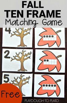 Free Ten Frame Matching Game - Playdough To Plato
