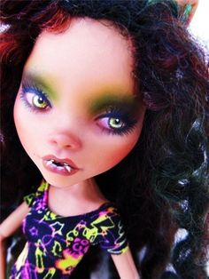 OOAK Clawdeen Vampire Custom Monster High Doll Repaint Face Up Makeover Reroot | eBay