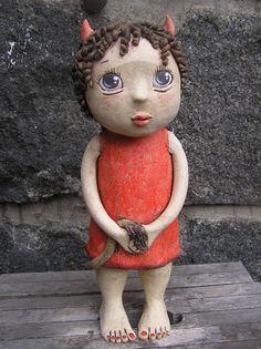 Čertice+(na+objednávku)+Výška+28+cm Pottery Sculpture, Sculpture Art, Garden Sculpture, Clay Dolls, Art Dolls, Statues, Beginner Pottery, Clay People, Clay Art Projects
