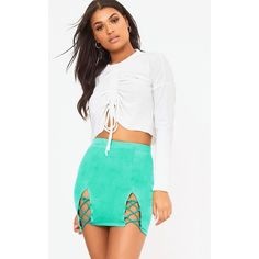Green Split Lace Up Sweat Mini Skirt ($16) ❤ liked on Polyvore featuring skirts, mini skirts, green, lace up skirt, white skirt, short green skirt, green skirt and short mini skirts