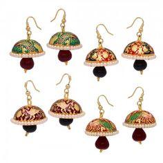 #Traditional Combo Of 4 Colors Meenakari Work #Jhumka #Earrings For Girls/Women  @eindiawholesale  #wholesale & #Reselling Please Whatsapp at +91-7339903357