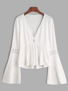 Shop White V Neck Bell Sleeve Crochet Insert Peplum T-shirt online. SheIn offers White V Neck Bell Sleeve Crochet Insert Peplum T-shirt & more to fit your fashionable needs. White Flowy Shirt, Flowy Shirts, White Flowy Top, White Peplum, Top Chic, Casual Summer Outfits For Women, Fancy Tops, Queen Dress, Moda Plus Size
