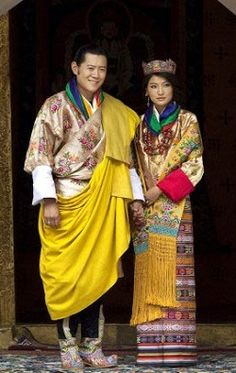 Their Majesties the Druk Gyalpo & Druk Gyeltsuen ; King and Queen of Bhutan, in traditional costume,