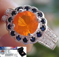 Amazing 2.85 cts Genuine Mexican Fire Opal,Sapphire & W.Topaz Ring 925 Size#7.5 #Handmade #Vintage