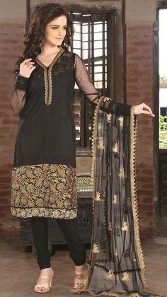 Black Cotton Zardosi Work Churidar Salwar Suit 26885