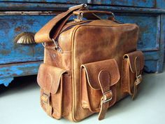Large Vintage Flight Bag - Scaramanga - Leather Satchels & Messenger Bags. Old Wooden Chests and Trunks