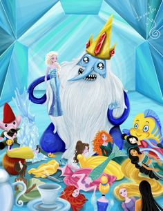 """Ice King I guess decided to get some Disney Princess dolls since he can't get any Adventure Time princesses. He finds Elsa. """" My Ice Queen! Adventure Time Cartoon, Adventure Time Art, Marceline, Ice King, Ice Queen, Prince Gumball, Land Of Ooo, Finn The Human, Jake The Dogs"""