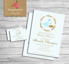 Dinosaur Baby shower invitation blue boy shower by DesignedbyDaniN