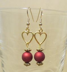 Red Bead & Gold Heart Dangle Earrings by Pizzelwaddels on Etsy, $4.98