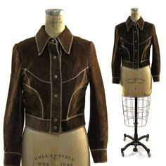 70s Suede Motorcycle Jacket / Brown with Zigzag by SpunkVintage, $48.00