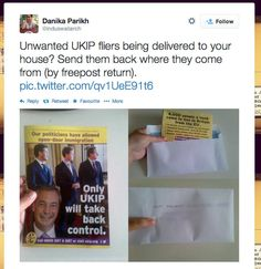 This is the basic principle of the protest.   People Are Wasting UKIP's Money By Sending Bricks To The Party's Freepost Address